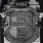 Plaque outside Great Eastern Hotel 1987