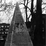 Pyramid in St. Anne's Limehouse graveyard. 1988